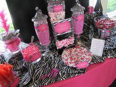 mason jar centerpiece in pink and zebra print | Pink and zebra print candy buffet