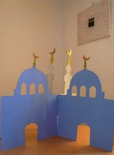 Mosquée en carton 3D, Cardboard mosque with template