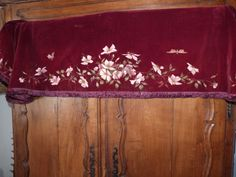 Antique French 1900s Chateau window curtain canopy pelmet valance burgundy red velvet w hand painted roses butterfly design, fringe trimming by MyFrenchAntiqueShop on Etsy