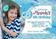 Dolphin, Under The Sea, Ocean, Water, Beach, Pool Birthday Printable Photo Invitation
