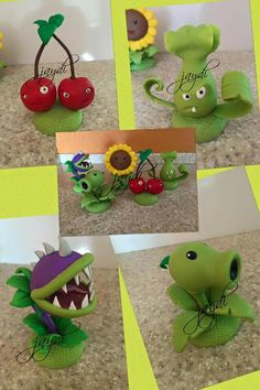 Zombie Birthday Cakes, Zombie Birthday Parties, Plants Vs Zombies, Kids Zombie Party, Plantas Versus Zombies, P Vs Z, Plant Zombie, Fondant Animals, Cupcake Art