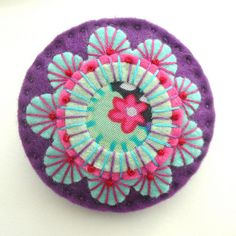 JAPANESE INSPIRED FELT BROOCH WITH KAFFE FASSETT FABRIC AND FREEFORM EMBROIDERY by APPLIQUE-designedbyjane, via Flickr
