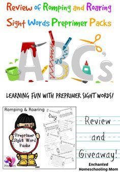 Review of Romping and Roaring Sight Words Preprimer Packs {PLUS Giveaway!} - Enchanted Homeschooling Mom