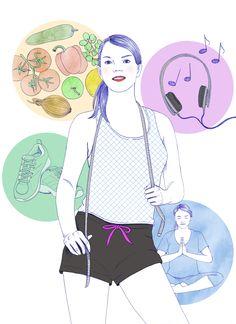 """Ilustracja o odchudzaniu, publikowana w magazynie """"Miasto kobiet"""" #health #illustration #ilustracja"""
