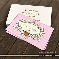 Coral Pink Cupcake Business Card Pink Cupcakes Coral Pink And - Cupcake business card template