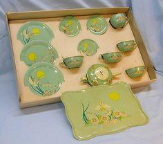 "Vintage RARE Early Ohio Art Tea Set ""Fairies"" Original Box"