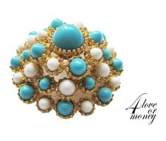 Vintage KJL Kenneth Lane turquoise and white dome pin brooch https://www.etsy.com/listing/249994024/vintage-kjl-kenneth-lane-turquoise-and?ref=shop_home_active_6