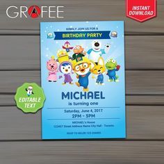 Pororo Invitation Birthday Party - EDITABLE Text - Instant Download - Pororo Printable Invitation Card - Cute Penguin Invite by GrafeePrintables on Etsy
