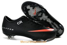 Nike Mercurial CR7 Vapor IX FG 2013 Soccer Cleats Black Orange . They are so pretty ❤