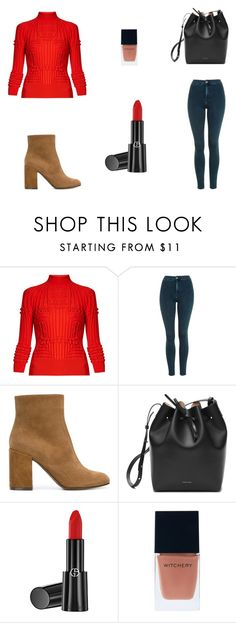 """""""Untitled #8101"""" by mie-miemie ❤ liked on Polyvore featuring Mary Katrantzou, Topshop, L'Autre Chose, Mansur Gavriel, Giorgio Armani and Witchery"""