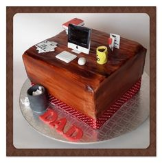 A desk cake for a daddy that loves working. Handmade by Suga Suga Cupcakes