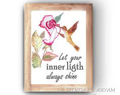 Let your inner light always shine, Wall Art, Printable, Inspirational Art, Watercolor Printable, Quote Prints, Flower Wall Decor