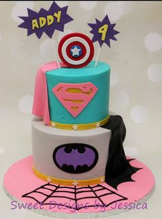 This is a great girlie superhero cake For all your cake decorating