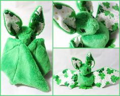 St. Patrick's Bat Plush - SOLD! by TheFCShop.deviantart.com on @DeviantArt  Made with a sewing pattern from www.beezeeart.com