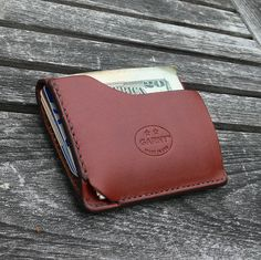 GARNY No.9 - Card and dollar bill wallet - Minimalist Leather Wallet - chestnut brown leather -al on Etsy, $89.00