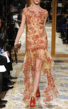 Marchesa - Embroidered Illusion Dress