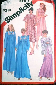 Simplicity  5330 1980s Misses Nightgown Robe Bed Jacket womens vintage sewing pattern  by mbchills