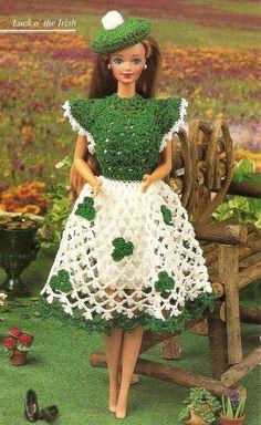 St. Patrick's Day Dress & Tam Fashion Doll Outfit/Crochet Pattern INSTRUCTIONS