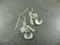 Aquamarine Gemstone Sterling Silver Earrings by AdeniumJewelry