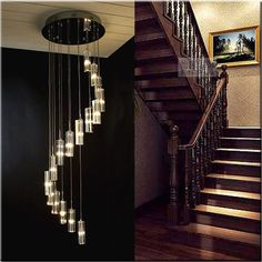 Modern Lustre Crystal Chandeliers Stair Long Hanging pendant lamps home decorative Light Fixtures