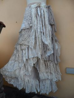 """20%OFF vintage inspired extra shabby wrap skirt/shawl...a work of art 46"""" across plus ties."""