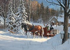 Sugar Shack Horses is a 1000 piece jigsaw puzzle from Cobble Hill featuring artwork of two horses pulling people on a sleigh through the countryside snow. Christmas Scenes, Christmas Art, Vintage Christmas, Christmas Images, Winter Art, Winter Snow, Winter Landscape, Landscape Art, Landscape Paintings
