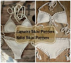 This listing is PDF FILE CROCHET PATTERNS for Capheira Bikini top and Brazilian Bottom and Haliai Bikini Top and Hipster Bottom, Not finished items:) Skill level: EASY, INTERMEDIATE You should know the basic stiches: chain stitch, single crochet, slip stitch, double crochet, halfdouble crochet. All the other sticthes used in the pattern are explained.  This pattern is written in standard American terms and includes lot of photos of the process. And Also includes Crochet CHART SYMBOLS for…
