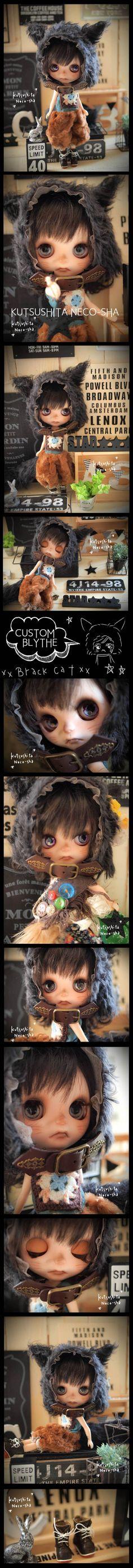 Custom Blythe Dolls: Nekosha Black Cat Custom Blythe - A Rinkya Blog