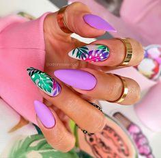Cute Summer Nail Designs, Cute Summer Nails, Spring Nails, Summer Acrylic Nails, Summer Vacation Nails, Stylish Nails, Trendy Nails, Almond Nails Designs, Gel Nail Art Designs