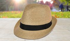 Straw Fedora with Grosgrain Ribbon Crown Band