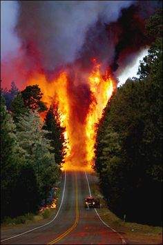 Raging forest fire crossing California's old Highway 18. via pinterest
