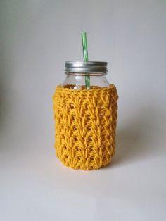 Gold 32 Ounce Mason Jar cozy Crochet jar sleeve by HookMadness, $10.00