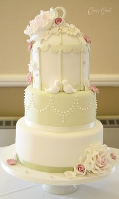 3 tier birdcage cake, perfect white elegance with pale rose detail