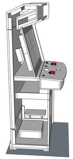 Woodworking Program New Cabinet Build: Lakeside Arcade - plenty of pics. Pi Arcade, Arcade Bartop, Arcade Room, Retro Arcade, Arcade Games, Gaming Cabinet, Arcade Cabinet Plans, Arcade Console, Types Of Furniture