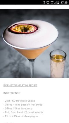 The porn star martini is a modern day tropical cocktail made with fresh passion fruit juice, vanilla vodka, simple syrup, and fresh lime juice. It's typically served with an ounce or two of prosecco or Champagne on the side. Cocktails Champagne, Beste Cocktails, Gin Cocktail Recipes, Alcohol Drink Recipes, Cocktail Drinks, Pink Gin Cocktails, Lemonade Cocktail, Fancy Drinks, Craft Cocktails