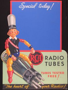 Vintage Graphics - broadcastarchive-umd: Via Radio broadcasting. Vintage Love, Vintage Signs, Vintage Ads, Vintage Posters, Old Advertisements, Retro Advertising, Retro Ads, Radios, Lps