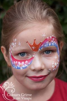 S-swirl princess; one-stroke; S-swirl princess; one-stroke; crown and flowers - Face Painting Images, Face Painting Designs, Bodysuit Tattoos, The Face, Face And Body, Mask Face Paint, Cheek Art, Belly Painting, One Stroke