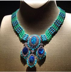 """Van cleef & Arpels Black Opal , Diamonds , and turquoise Necklace from the high jewellery collection """" Peau d'âne """""""