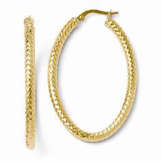 Leslie's 14k ForeverLite Polished and Textured Oval Hoop Earrings