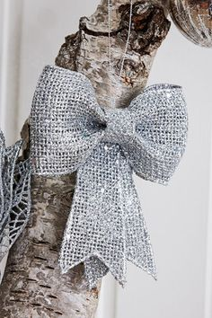 Styled Sealed Delivered - Glam Christmas Silver Hanging Bow | Christmas decoration | silver bows | xmas | tree decorations