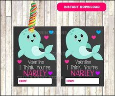 Narwhal Valentines Printable Cards, INSTANT DOWNLOAD Johnny Valentine, Printable Cards, Printables, Narwhals, Holiday Gifts, Holiday Decor, Valentines Day Party, Kid Stuff, Card Stock
