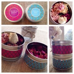 """Finally figured out what to do with my old scented candles... Because despite my best intentions I will never take the time to melt the old wax out of them...   But I always save & dry my flower bouquets so I can make potpourri """"one day"""" lol... Storing them in these candle tins will infuse them with the scent & it makes a pretty display"""