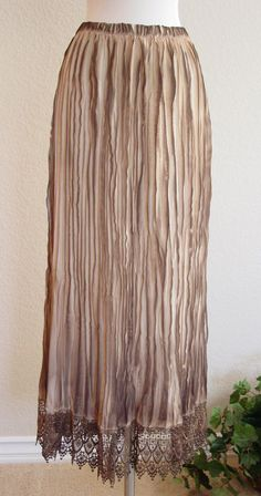 Accordion Pleated & Lace Ombre Maxi Skirt by Papa's Attic Vintage $32.00