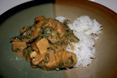Tofu w/Peanut Sauce & Spinach (vegan, gluten-free) - Vegetarian Gastronomy