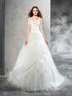 2016 New styles via #QueenaBelle. Sexy strap floor length wedding dress, Have a try?