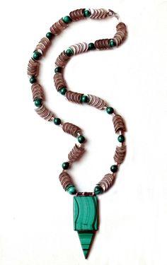 Vintage Metal Beads, Malachite Beads, Vintage Malachite, Sterling and Garnet Pendant. Garnet Pendant, Metal Beads, Vintage Metal, Malachite, Turquoise Bracelet, Art Decor, Beaded Necklace, Jewelry Design, Bracelets