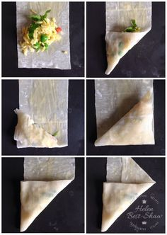 Baked samosas are delicious and very easy to make. Here is how to fold them Easy to make crispy baked samosas filled with rice and peas, served with a fruity yoghurt dip. Indian Food Recipes, Asian Recipes, Vegetarian Recipes, Healthy Recipes, Indian Snacks, Pastry Recipes, Cooking Recipes, Comida India, Baked Rice