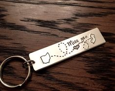 Long Distance Love State Keychain  Choose Your by Nelliebead
