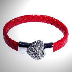 Pulsera Brazalete Cuero Trenzado, diamante imitación y cierre magnético