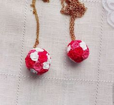 Купить Подвеска Цветочный шар, из цветов роз, подвеска с розами - розовый, белый, светло-розовый
